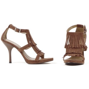 Brown Fringe High Heel Adult Shoes - Brown / 8
