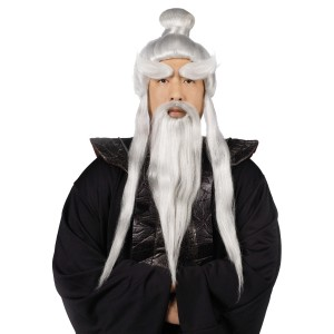Sensei Wig and Beard Set - Black / One-Size