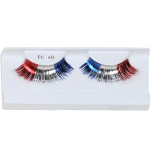 Red, White, and Blue Party Eyelashes with Case