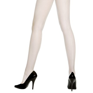 Sheer Backseam Pantyhose White - Adult - White / One-size