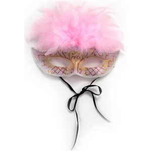 Antique Mask with Pink Feathers