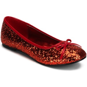 Red Glitter Star Flat Adult Shoes - Red / 6