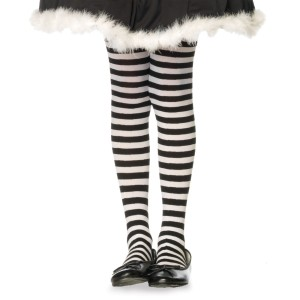 Child Black/White Striped Tights - Black / Large (7-10)