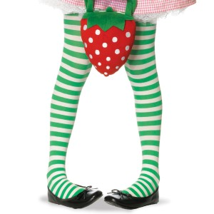 GreenWhite Striped Tights Child - White/Green / Medium (4/6)