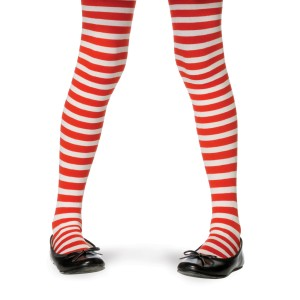 Red/White Striped Tights Child - White/Red / Medium (4/6)