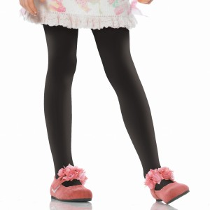 Black Opaque Tights Child - Black / Large (7/10)