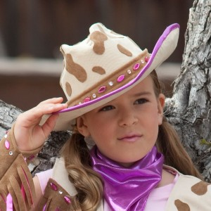 Rhinestone Cowgirl Child Hat - Brown/Purple / One Size