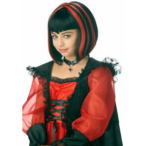 Vampire Girl Black/Red Wig - Black / One-Size