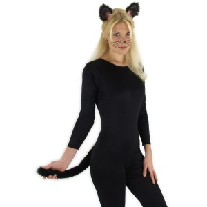 Black Cat Ears and Tail - Black / One-Size