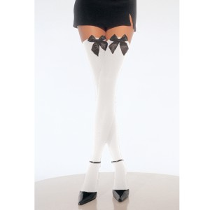 White Thigh High Stockings with Bow - Black