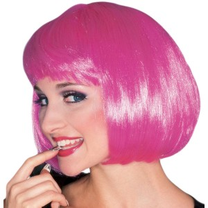 Hot Pink Super Model Wig - Pink / One-Size