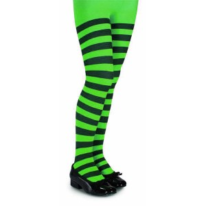 Green and Black Striped Tights - Child - Green / Large