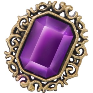 Gothic Jewelled Ring Adult - Purple / One-Size