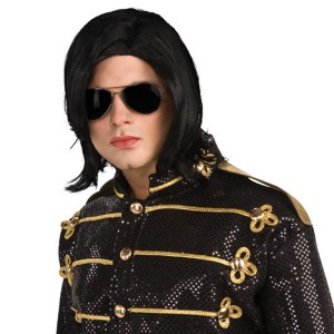 Michael Jackson Adult Long Straight Wig w/ Glasses - Black / One-Size