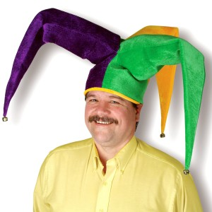Mardi Gras Plush Floppy Jester Hat - Multi-colored / One-Size
