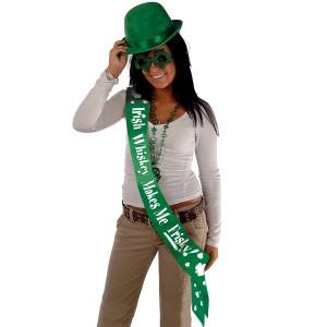 Irish Whiskey Makes Me Frisky Sash - Green / One-Size