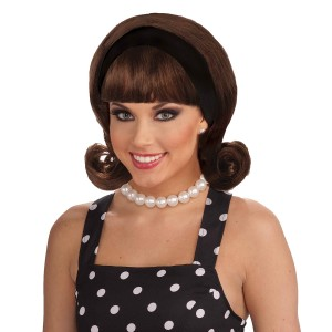50's Flip Wig - Brown Adult - Brown