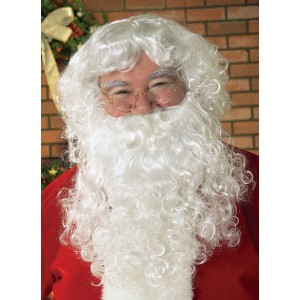 Economy Santa Beard & Wig Set Adult - White / One-Size