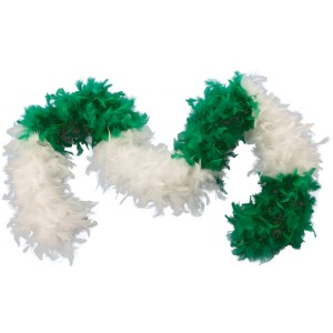 Green & White Feather Boa Adult - Green / One-Size