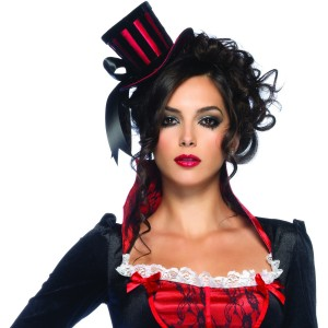 Deluxe Mini Top Hat Red/Black Adult - Black / One-Size