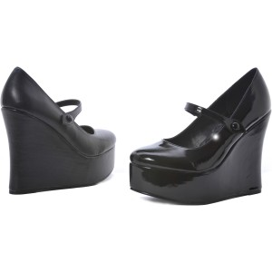 Wedge Black Adult Shoes - Black / 5