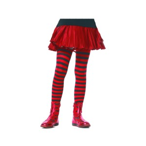 Striped BlackRed Child Tights - Red / Large (7-10)