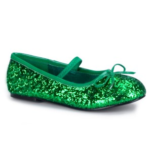 Green Sparkle Flat Shoes Child - Green / 11/12