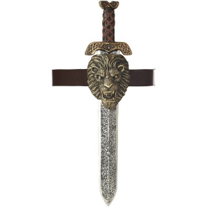 Roman Sword With Gold Lion Sheath Adult - Gray / One-Size