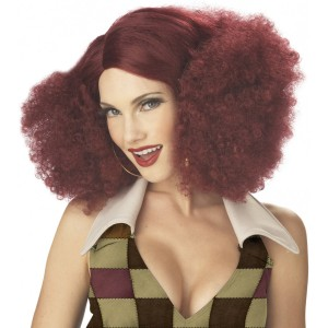 Disco Sensation Burgundy Adult Wig - Red / One-Size
