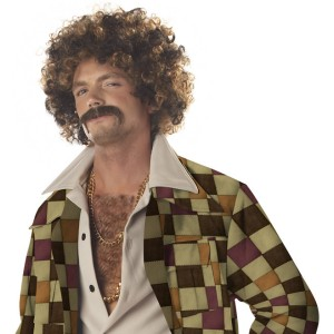 Disco Dirt Bag Wig & Moustache Adult - Brown / One-Size