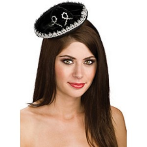 Black & Silver Mini Sombrero Adult - Black / One-Size