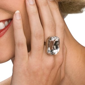 Faux Diamond Ring - White / One-Size