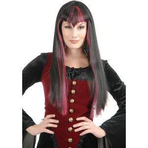 Gothic Vampira Black/Red Adult Wig