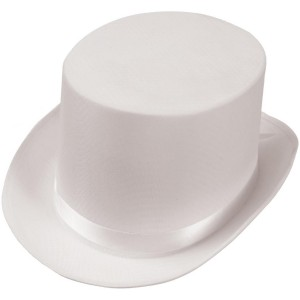 Satin White Adult Top Hat - White / One Size Fits Most Adults