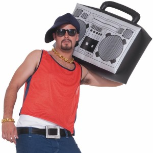 Hip Hop Inflatable Boom Box - Black / One Size Fits Most Adults