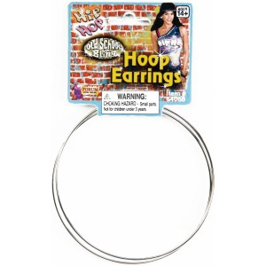 Hip Hop Jumbo Hoop Earrings - Silver