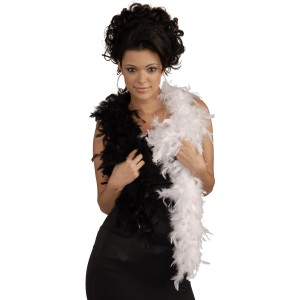 Black & White Adult Feather Boa - Black