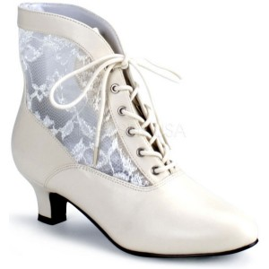 Victorian Adult Boots Ivory - Cream/Off White / 7