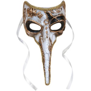 Long-Nosed Black & White Venetian Adult Mask - Black / One Size Fits Most Adults