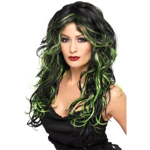 Long Streaked Black/Green Adult Wig