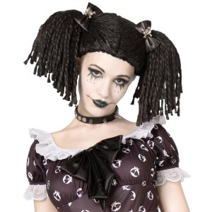 Gothic Rag Doll Wig - Black / One-Size