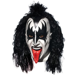 KISS Demon Deluxe Latex Full Mask With Hair Adult - Black/White / One-Size