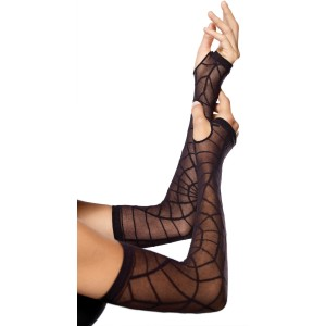 Sheer Spiderweb Arm Warmers Adult - Black / One-Size