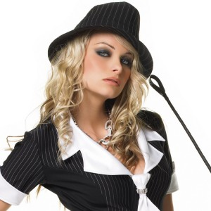 Pinstriped Fedora Adult - Black / One-Size