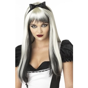 Enchanted Tresses Black  White Adult Wig - Black / One-Size