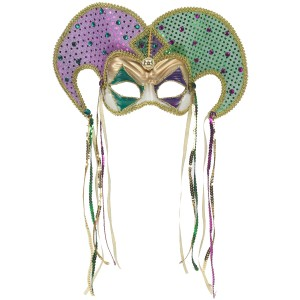 Mardi Gras Venetian Mask Adult - Green / One-Size