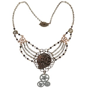 Steampunk Gear Chain Antique Necklace Adult - Brown / One-Size