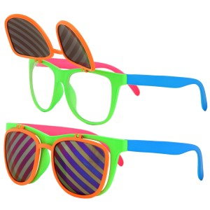 Flip Ups Neon Glasses Adult - Green / One-Size