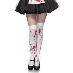 Bloody Zombie Thigh Highs Adult - White / One-Size