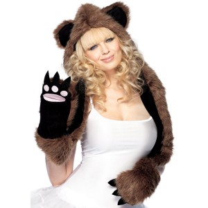 Plush Bear Hood With Paw Scarf Adult - Brown / One-Size